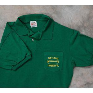 0e0227758 Hot Dog Johnny Green Adult Golf Shirt